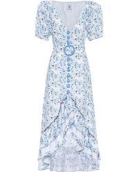 Gül Hürgel Vestido de lino con estampado floral - Azul