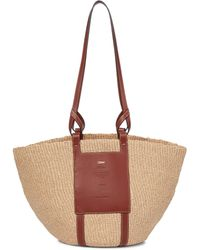 Chloé Woody Leather-trimmed Raffia Tote - Brown