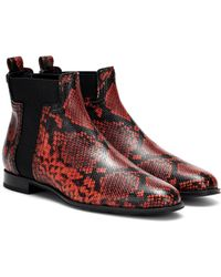 Tod's Exclusive To Mytheresa – Snake-effect Leather Ankle Boots - Multicolour