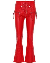 Unravel - Leather Lace-up Flared Pants - Lyst