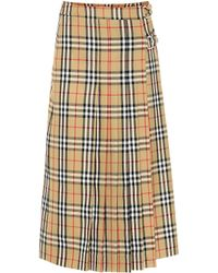 Burberry - Check Pleated Skirt - Lyst