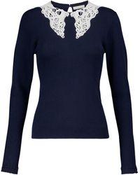 Chloé Pullover aus Baumwolle mit Spitze - Blau
