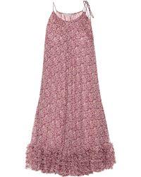 Stella McCartney Vestido de seda floral - Morado