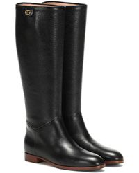 Gucci Rebelle Leather Boots - Black