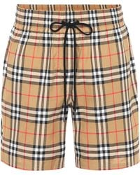 Burberry - Vintage Check Cotton Shorts - Lyst