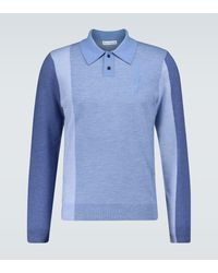 JW Anderson Polo in lana color-block - Blu