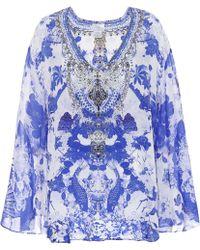 Camilla - Embellished Silk V-neck A-line Blouse - Lyst