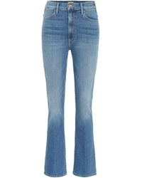 Mother High-Rise Cropped Jeans The Hustler - Blau