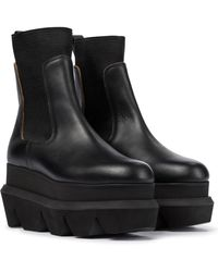 Sacai Platform Leather Chelsea Boots - Black