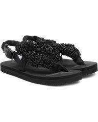 Cecilie Bahnsen X Suicoke Kat Embellished Sandals - Black
