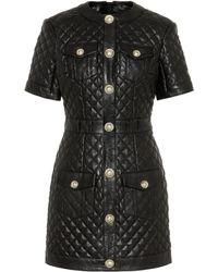 Balmain Gestepptes Minikleid aus Leder - Schwarz