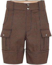 Chloé Short en coton et laine mélangés à carreaux - Multicolore