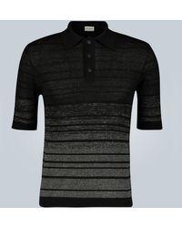 Saint Laurent Dégradé Linen-blend Striped Polo Shirt - Black