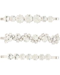 Alessandra Rich Set Of 3 Crystal Hair Slides - Metallic