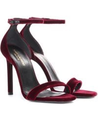 Saint Laurent - Amber 105 Velvet Sandals - Lyst