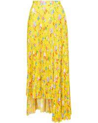 Balenciaga Falda plisada estampada - Amarillo