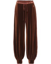 Gucci Embroidered Chenille Trackpants - Brown
