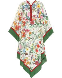 Gucci Floral-print Linen Twill Caftan Dress - Multicolour
