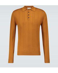 King & Tuckfield Langarm-Poloshirt aus Wolle - Orange