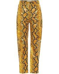 The Attico Pantalon droit imprimé en cuir à taille haute - Jaune