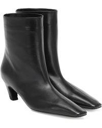 Khaite Arizona Leather Ankle Boots - Black