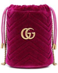 Gucci Secchiello GG Marmont Mini in velluto - Multicolore