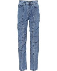 Y. Project Ruffled Straight-leg Jeans - Blue