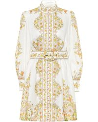 Zimmermann Super 8 Floral Mini Linen A-line Dress - Multicolour