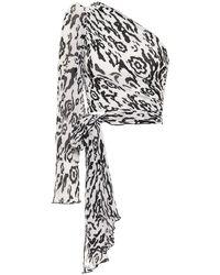 Self-Portrait Top plissé a stampa leopardata - Bianco