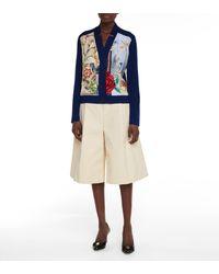 Ferragamo Floral Wool And Silk Twill Cardigan - Blue
