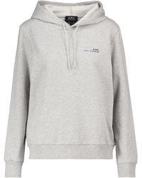 A.P.C. Logo-Hoodie aus Stretch-Baumwolle - Grau