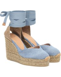 Castaner Chiara Denim Wedge Espadrilles - Blue