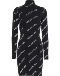 Balenciaga Logo Ribbed-knit Minidress - Black