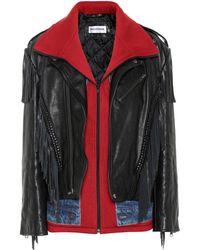 Balenciaga Denim-trimmed Leather Jacket - Black