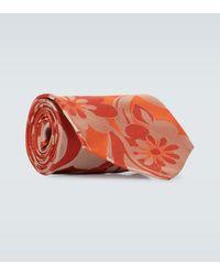 Dries Van Noten Flower Printed Silk Tie - Orange