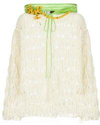Loewe Paula's Ibiza - Pullover in crochet di cotone con cappuccio - Bianco