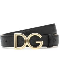 Dolce & Gabbana Dg Leather Belt - Black