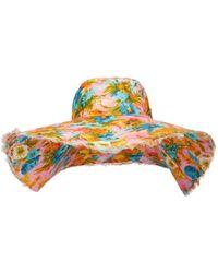 Zimmermann Chapeau en lin réversible à fleurs - Rose