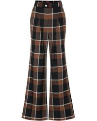 STAUD Checked Wool-blend Wide-leg Trousers - Multicolour