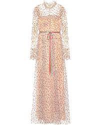 Monique Lhuillier Robe longue en tulle à paillettes - Rose