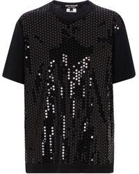 Junya Watanabe T-shirt en coton à sequins - Noir