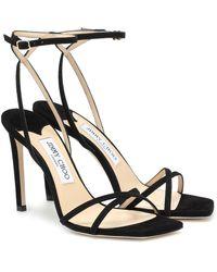 Jimmy Choo Metz 100 Suede Sandals - Black