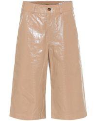 Dodo Bar Or High-Rise Shorts aus Leder - Natur