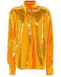 Alex Perry Bluse Tyler mit Pailletten - Orange