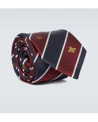 Gucci - Corbata de seda con símbolos - Lyst