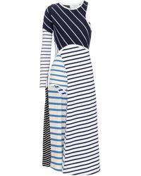 Marine Serre Striped Cotton Midi Dress - Blue
