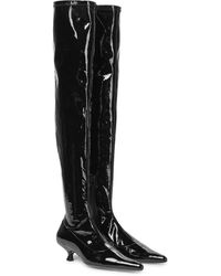 Khaite Overknee-Stiefel Volos aus Lackleder - Schwarz