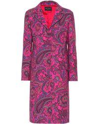 Etro - Printed Wool-blend Coat - Lyst