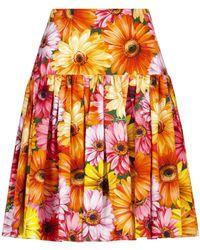 Dolce & Gabbana Floral Cotton-poplin Midi Skirt - Multicolour