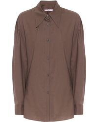Low Classic Camicia oversize in lana - Marrone